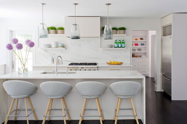 How to Create A Stylish & Kid-Friendly Home | Interior design by Denise Davies of D2 Interieurs | Photo by George Ross | Kid-Friendly Home | Family-Friendly Home Design | Home Decor Inspiration | Interior Design Inspiration | Dining Room Inspiration | White Kitchen | Kitchen Design Ideas | Kitchen Inspiration | Marble Kitchen Island | Kitchen Seating | Modern Sanctuary | Modern Kitchen Ideas| Modern Kitchen Inspiration | White Floating Shelves | White and Gray Kitchen
