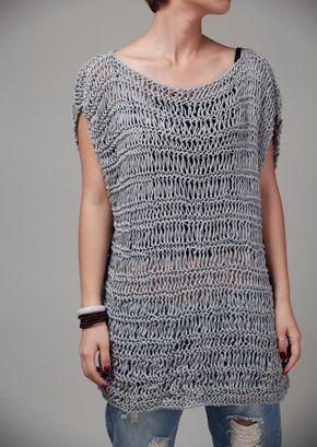 Hand knit Tunic sweater grey e  