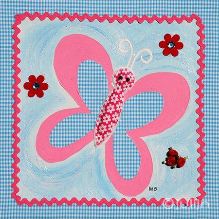 Het vlindertje is geschilderd op turquoise geruit stof. Mooi afgewerkt met een lintje en bloemetjes. te koop via www.julijn.nl