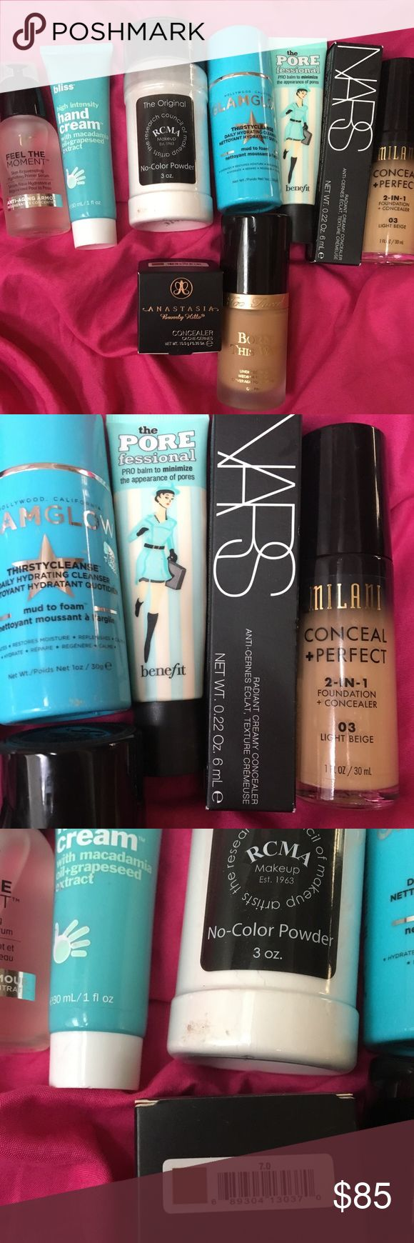 Makeup bundle. Willing to separate if needed. RCMA setting powder 85% of product left. Glamglow mud to foam cleanser 90% of product left. Benefit porefessional primer 75% of product left. Milani conceal and perfect foundation 85% left 03 light beige. Born this way foundation in light beige 85% left(still have the box) . ABH and NARS concealer in another post. It cosmetics primer used once. Bliss hand cream used once. Sephora Makeup