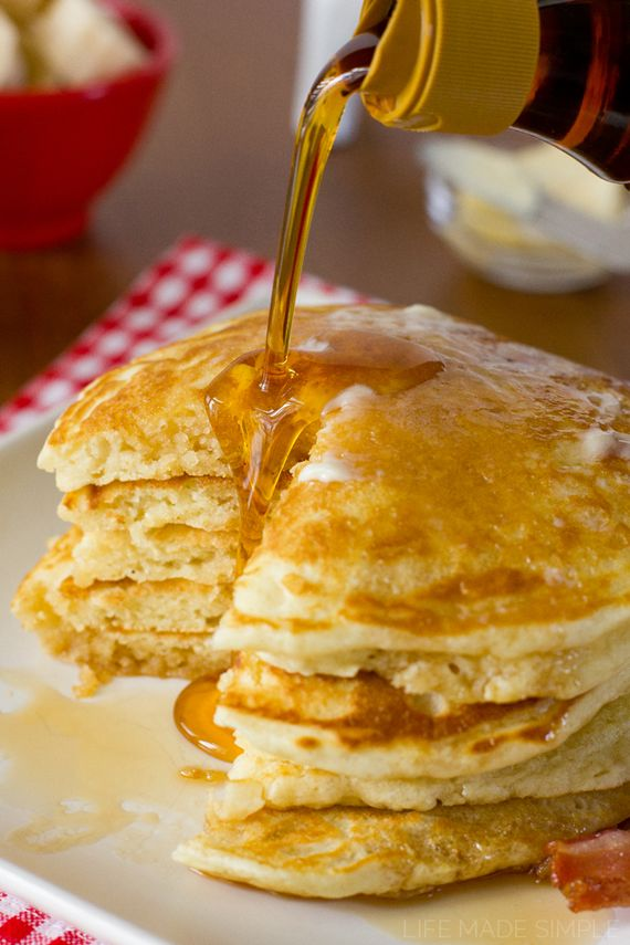 These are the BEST buttermilk pancakes! They're light, fluffy, and full of that sweet buttermilk flavor. Pile 'em high and top them with butter and syrup!
