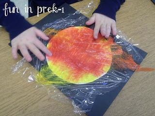 Fun in PreK-1: There's No Place Like Space: Outer Space Adventures. painting the sun