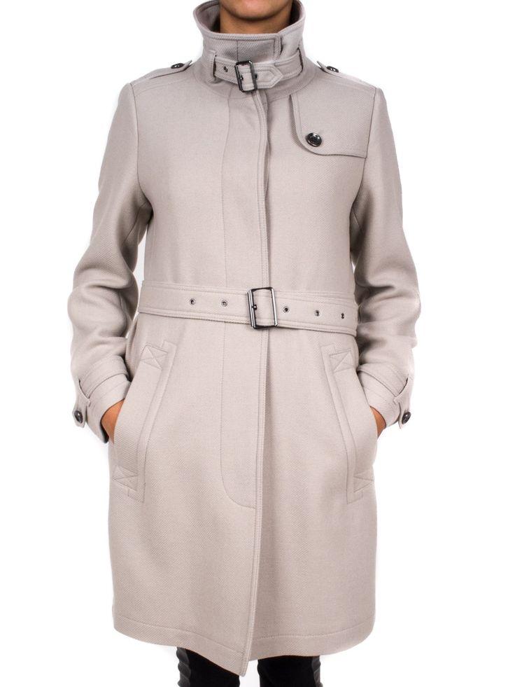 BURBERRY - Cappotto in lana collo alto con cintura in vita - Pietra  - Elsa-boutique.it #Burberry <3