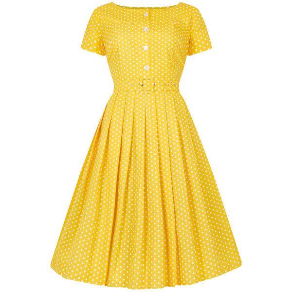 Zoe Vine Isabelle   Yellow Polka Dot Dress ($95) ❤ liked on Polyvore featuring dresses, yellow, sleeved midi dress, short dresses, short cotton dress, calf length dresses and short polka dot dress