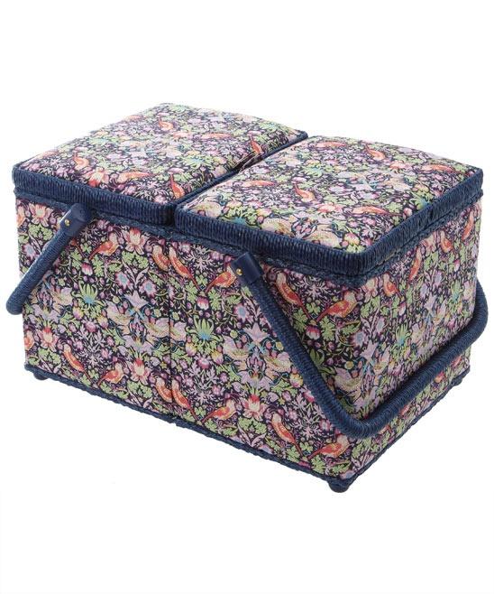 Pink Strawberry Thief Print Sewing Box