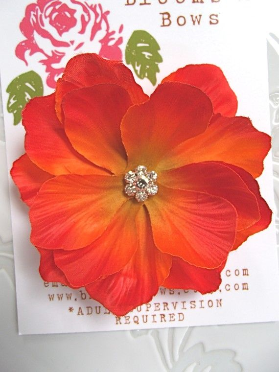 ORANGE POPPY Flower Hair Clip for girls or women by bloomsnbows, $9.95