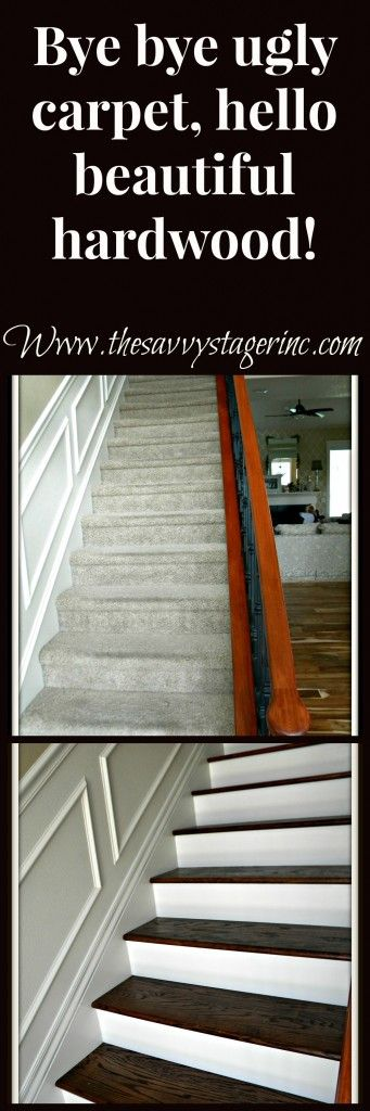 How to remove carpet and install hardwood treads and risers on stairs. Full tutorial!