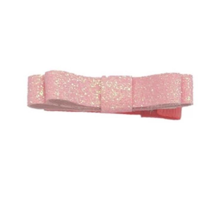 Alligatorclip met roze glitter strik