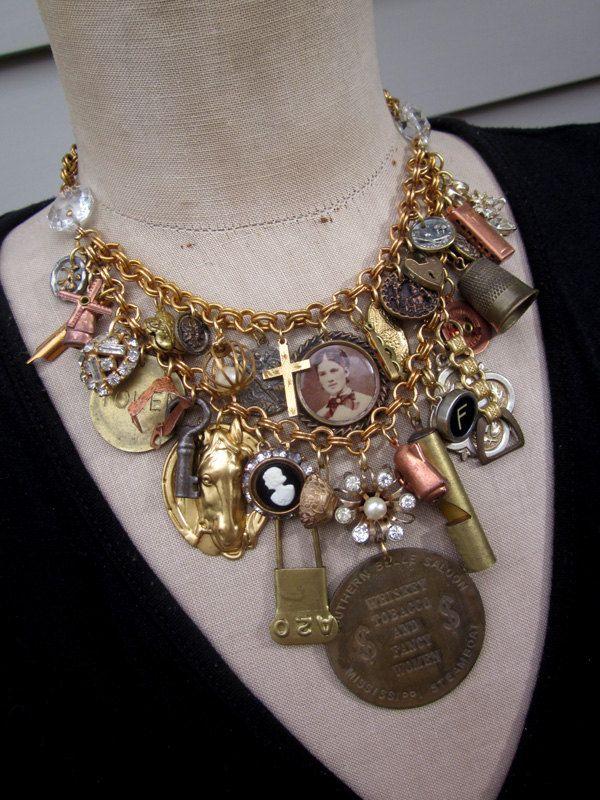 Vintage Necklace,  Charm Necklace, Steampunk Necklace  - Pioneer
