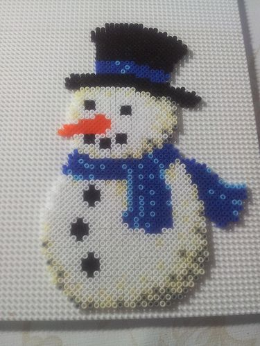 Winter snowman hama beads by Pernille Henriksen