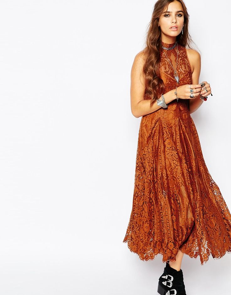 Image 1 of Free People Angel Rays Lace Trapeze Midi Dress in Copper