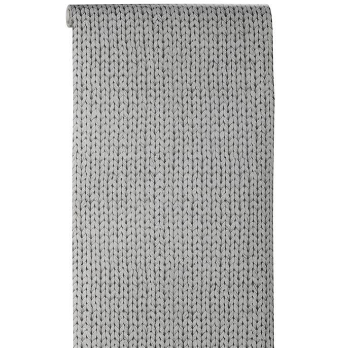 Behang grijs gebreid. (Kwantum) (Jammer dat de kast 59cm breed is...)