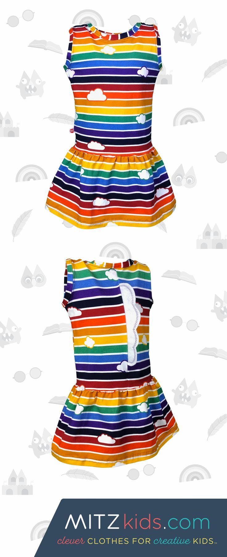 Retro Rainbow Children's Dress with Clouds | Mitz Kids The Retro Rainbow dress is designed to support children's developmental learning and early literacy development. The fun Rainbow kids dress is for babies, infants, toddlers and children (infant to Size 7).  It's perfect for a kids tea party, birthday party outfit, casual play clothes, summer kids clothes or for a play date. #babyclothes #toddlerfashion #kidsfashion #dresses #kidsdress #rainbow #kids
