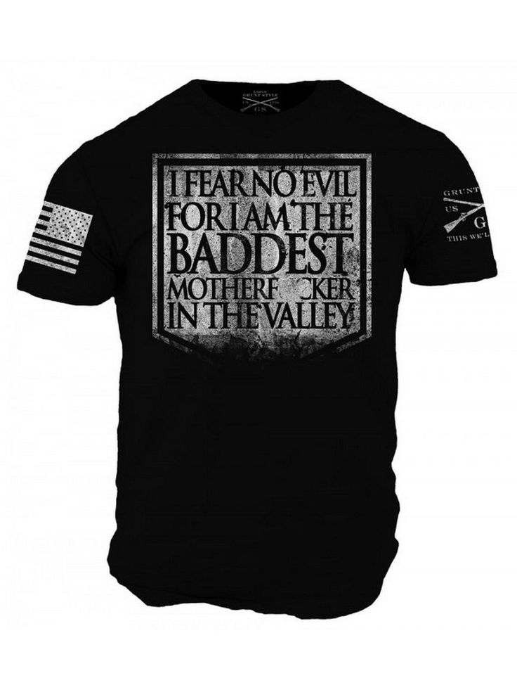 Fear No Evil T-Shirt - Grunt Style Military Men's Black Graphic Tee Shirt