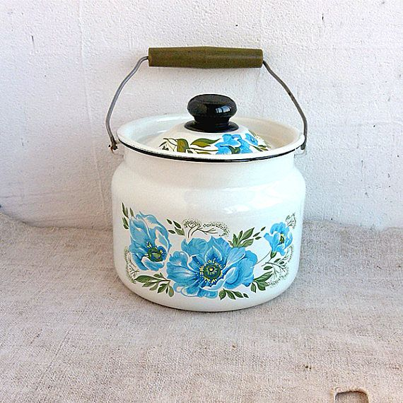 Enamel milk can Vintage milk jug Rustic pitcher Milk pot Old