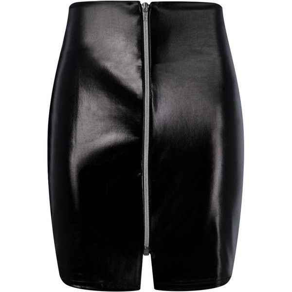 Boohoo Priya Wet Look Shiny Zip Front Mini Skirt (€10) ❤ liked on Polyvore featuring skirts, mini skirts, midi skirt, zipper mini skirt, short maxi skirt, short skirts and circle skirts