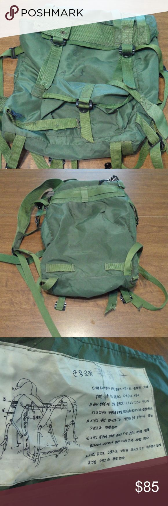 AUTHENTIC US ARMY SOLDIER BACKPACK RETIRED Given to me by a US soldier in South Korea. His job, from the small amount he told me, was to watch the sky for any incoming attack from North Korea of any kind.  The backpack is standard issue for the army going to that location.  In perfect condition. A million straps and pockets for everything you need. Army green, sturdy, durable, longlasting (3 words which are all synomyms should give you an ok idea of how tough this item is. While very sturdy…