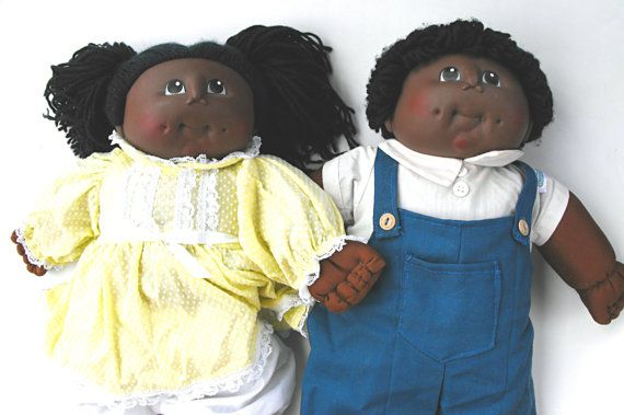 Black Cabbage Patch Dolls | Retro 1984 Brother and Sister Cabbage Patch Look-A-Like Dolls -Martha ...