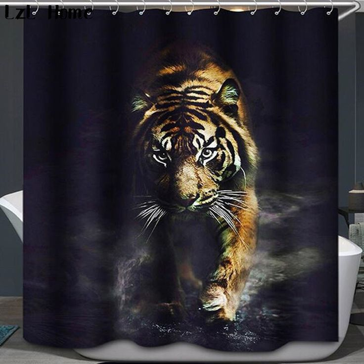 Elephant Tiger Shower Curtain Waterproof Lion Bathroom Curtain Polyester 3d cortina ducha with Hooks curtains for bath room #Affiliate