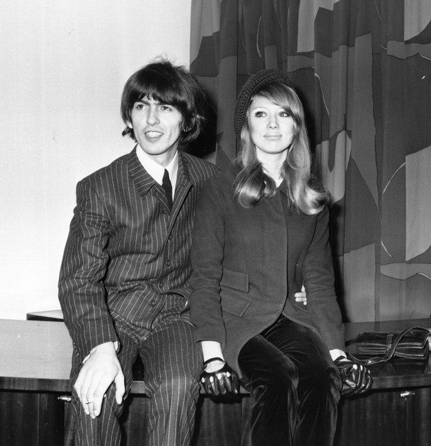 "George Harrison and Patti Boyd, 1966 Beatle George Harrison and consummate muse Patti Boyd (the inspiration for the Beatles' ""Something"" and ""I Need You,"" and Eric Clapton's ""Layla"") married in adorable matching suits."
