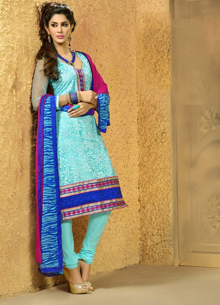 Ermagerrrd i love this one!  Aqua blue #designer brasso  net #salwarkameez comes with blue printed dupatta.
