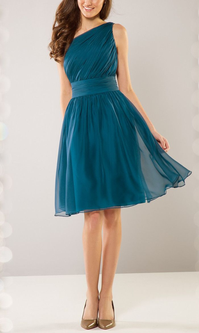 Ruched One Shoulder A-Line Bridesmaid Dress