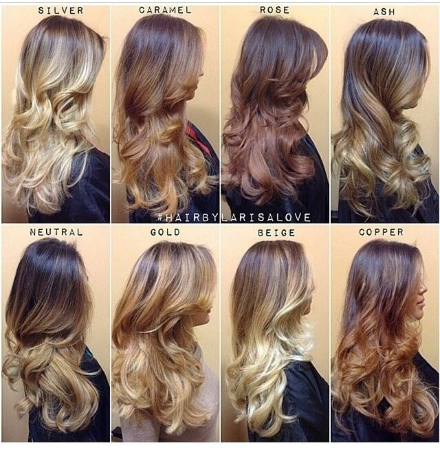 Ombre, different colors.