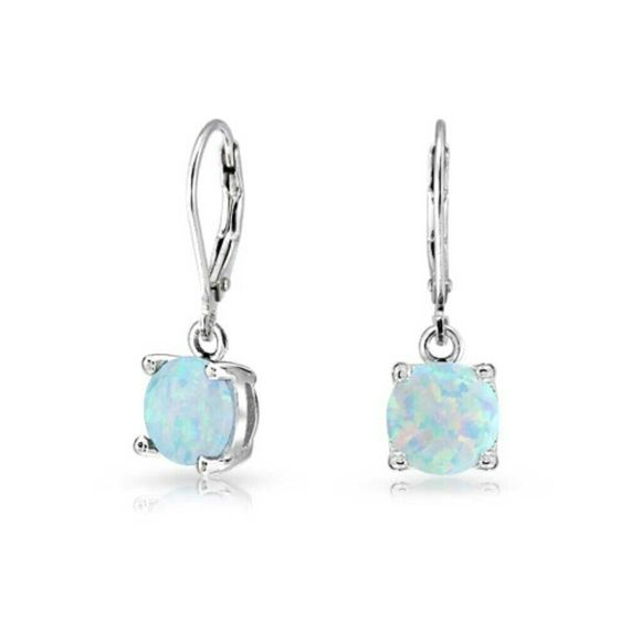 925 Sterling Round Opal Gemstone Leverback Dangle Measure: 1 Inch Long Weight: Weighs 1.8 Grams Material: .925 Sterling Silver, Opal   Price is Negotiable in reason Jewelry Earrings