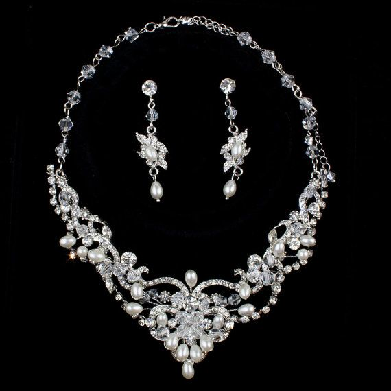 Bridal Jewelry Set Bridal Necklace Set Silver and by PearlyBrides