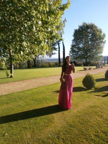 Invitada boda Muanó elegante. Wedding guest. Vestido largo de gasa (muano)