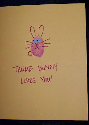 Easter Cards - Get your kids to do this and put ALL their prints on the inside. KEEP in a safe place, just in case.  My sister-in-law did this with their family finger prints this year.  Too cute!