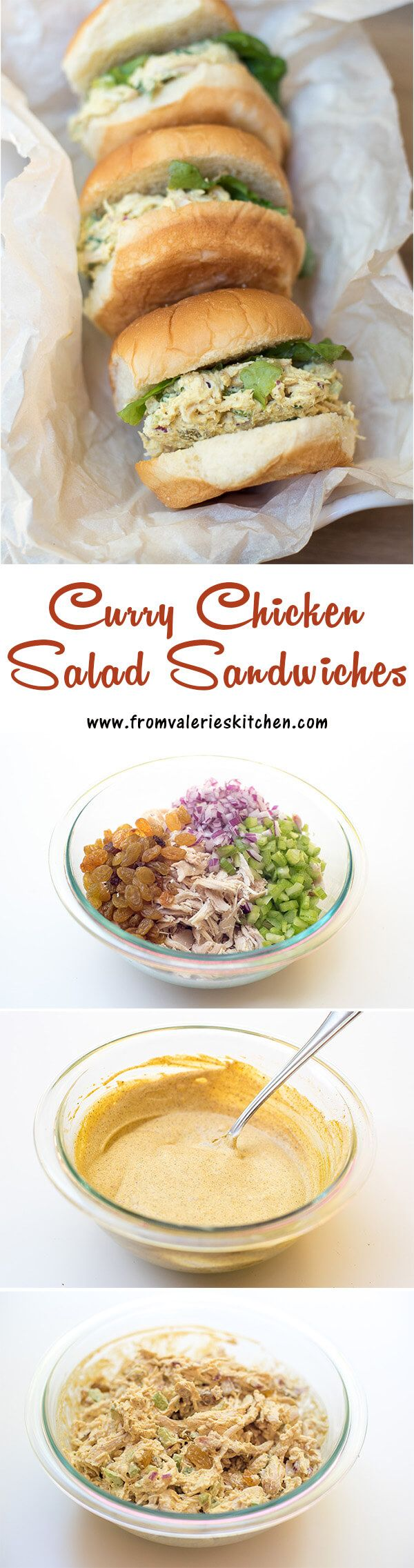 The creamy curry dressing, the sweet, chewy bite of golden raisins, and a bit of texture from finely diced red onion and celery. It all works together in a glorious way in this delicious Curry Chicken Salad. ~ http://www.fromvalerieskitchen.com
