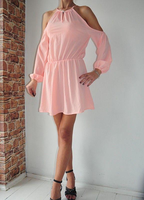 1c8aa95e38 Sukienka pudrowa wycięcie mini 40 - vinted.pl