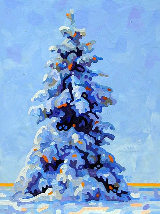 Abstract Landscape Painting - Mandy Budan: One Pine