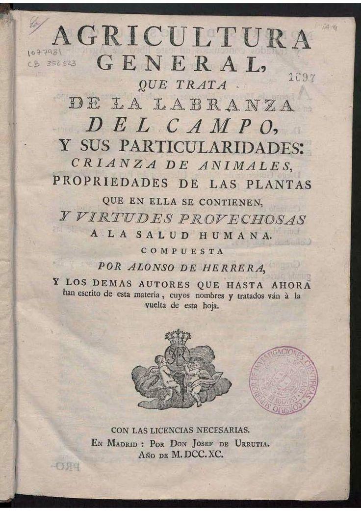 Reproducción de Portada del Tratado de Agricultura de Alonso de Herrera (facsímil, ed. 1790)