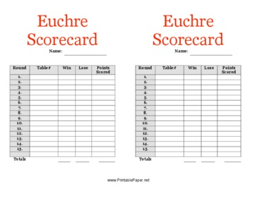 This Euchre Scorecard Has Room To Record Your Scores While Playing Euchre.  Free To Download