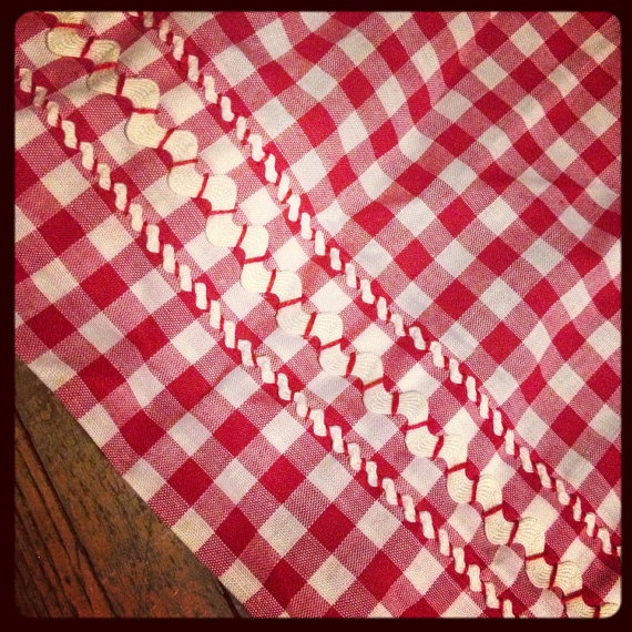 Vintage Red and White Check Waist Apron w/ Rick Rack Trim on Etsy, $7.50
