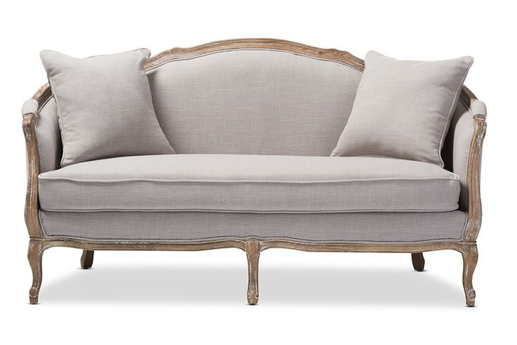 Baxton Studio Corneille French Country Weathered Oak Beige Upholstered 2-Seater Sofa
