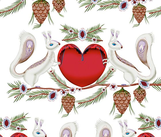 Klaus Haapaniemi illustrated the pattern for 2009 in-store Christmas campaign at Swedish pharmacy chain Apoteket.