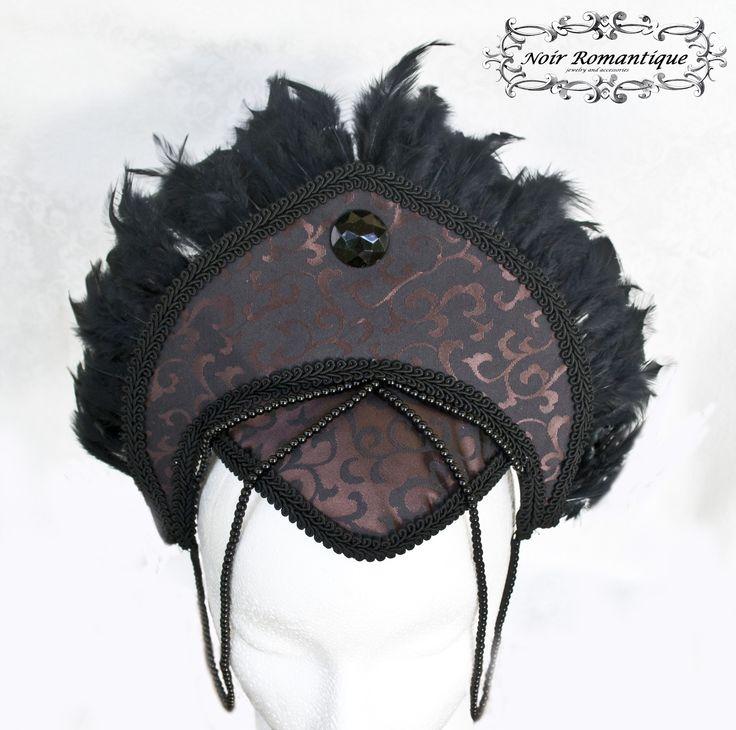 """La belle comtesse' gothic feather headpiece-Gothic Headpiece-Headpiece-Feather Headpiece-Black pearl headpiece"