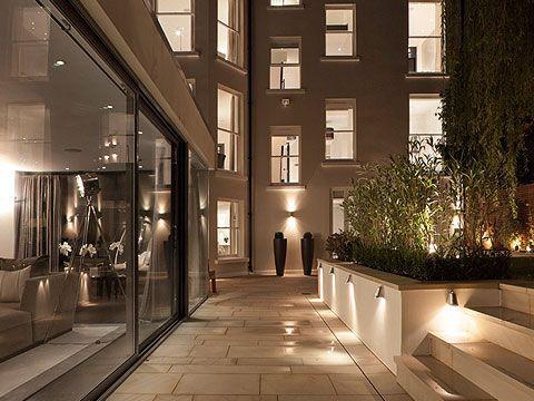 Like the lights slabs exterior garden lighting contemporary patio london laara copley smith garden landscape design