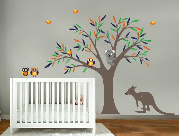 Kids Tree Vinyl Wall Decal With Birds Owls Koala Bear And