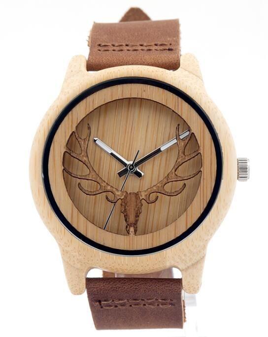 2b25c469004 Relógios. Madeira. BOBO BIRD Hollow Skeleton Engraved Deer Head Bamboo Wood  Watch Japan Movement 2035 Quartz Watch with