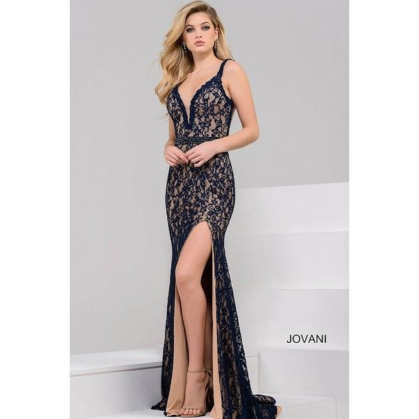 Navy and nude long fitted lace v neck dress with high slit and a low... ❤ liked on Polyvore featuring dresses, gowns, lace gown, long evening gowns, navy lace gown, long dresses and navy gown