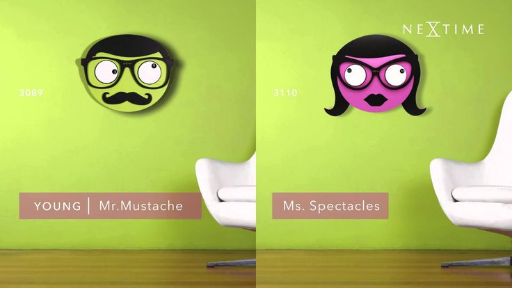 NeXtime - Golden Eyes - 3089 / 3110 Mr. Mustache and Ms. Spectacles are funny wall clocks with a particular feature: they have troubles with their eyes, under their glasses! The left eye marks the hours...and the right one the minutes. Their gaze is always so cute and...strange indeed! Watch the pupils to see what time it is. The left pupil focuses on the number that indicates the hours, and the right one indicates the minutes. Designer: StudioPang