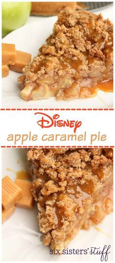Disney Apple Caramel Pie from @SixSistersStuff | You will love the sugar cookie bottom, apple filling with cinnamon spices, a delicous crunchy topping and then coated with caramel! It would be perfect for your Thanksgiving and holiday dinner dessert!