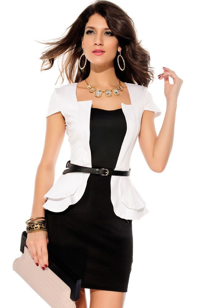 Fashion Sexy  Gifts for Love Mini  2013 Summer Women Stretchy  Black White Pink Work Peplum One Piece Dress 2827 Free Shipping $18.99