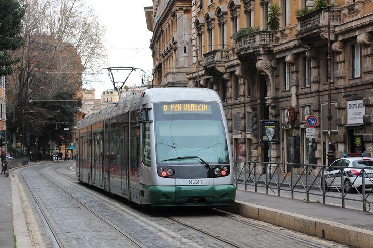A Roma 2 Tram heads north towards Piazza Venezia in Rome. #tram #train #lightrail #roma #fiatalstom