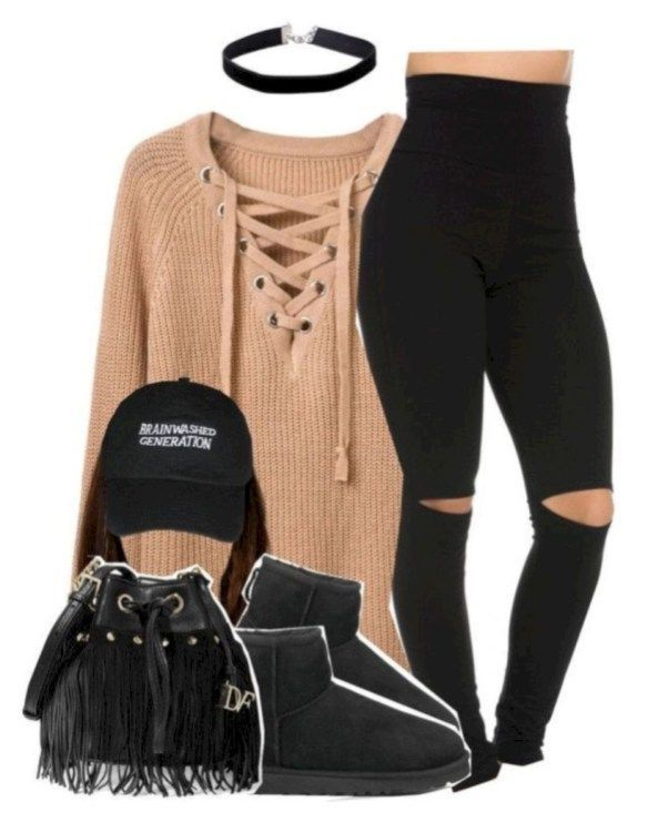 Comfortable winter school outfits for cold weather 32- # comfortable #cold #outfits #school #weather # winter # genel