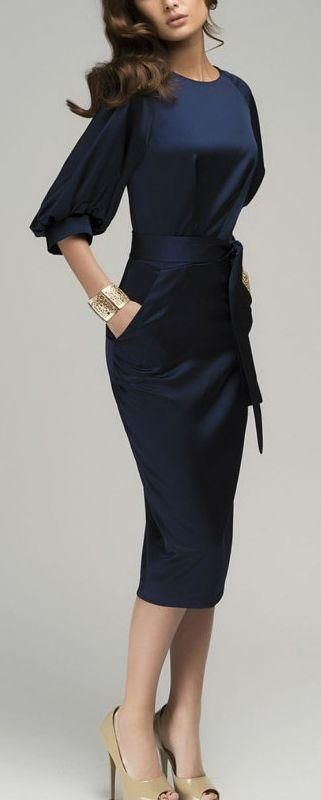 Navy Blue Puff Sleeve Belt Knee-Length Chiffon Pencil Dress